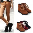Womens Faux Suede Stitching Lace Up Low Heel Ankle Boots Shoes Plus Size 533-7