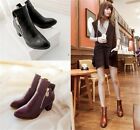 Womens Ladies Pointed Toe Side Zipper Block Heel Ankle Boots Shoes Plus Size 159