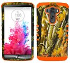 Phone Case for LG G3 Hybrid Impact Dual Layer Cover Oak Tree Branch Camo Orange