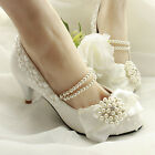 Classy Handmade Pearl Chain Diamond Lace Flower Bowknot Wedding Bridal High Heel