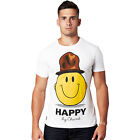 Mens Happy Chunk New Cotton Funny Short Sleeve White Smiley Face T Shirt Tee Top