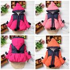 Baby Girls Kids Clothes Cotton Hooded Coat Winter Warm Jacket Outwear 1-4Y LA23