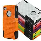 Dual Layer Mesh Hybrid Hard Silicone Rubber Case Cover For Apple iPhone 4 4S 4th