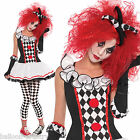 TEEN Harlequin Honey Circus Jester Clown Halloween Fancy Dress Costume + Tights