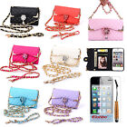 New Luxury Diamond Rose PU Flip Wallet Card Holder Case Cover For iPhone 4 4G 4S