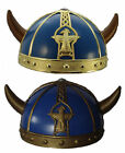 ARMOUR HELMET BLUE with horns Viking Roman Costume gold OR bronze