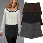 Fashion Women Fall Winter Pantskirt Hot Pants Shorts Casual Culotte Button Skort