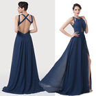 Stock New Front Split Backless Pageant Bridesmaid Gown Evening Prom Party Dress