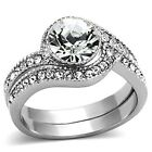 New Stainless Steel Top Grade Crystal 2 Pc Wedding Band Ring Set  Sizes 5-10