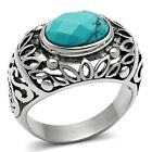 Stainless Steel Faceted Reconstituted Turquoise Blue Filigree Ring - Sizes 8-13
