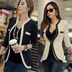 Fashion Womens White Black Colors Suit Blazer Coat Slim Jacket Outerwear S-XL