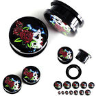 2Pc Lady Sugar Skull Acrylic Screw Tunnels Ear Plugs Expander Stretcher Piercing