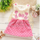 Kids Girls Baby Dress Flower Bow Pink Party Dress Princess Skirts Clothes 3-12M