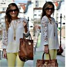 2014 Women Casual Long Sleeve Shirt Lace Crochet Emboriey Loose Tops Blouse XXXL