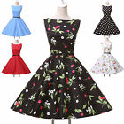 UK Victorian Pinup Rockabilly 50s Vintage Floral Party Retro Casual Summer Dress