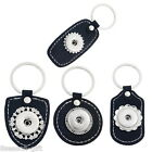 1PC Key Ring Real Leather Fit Snap Buttons Black