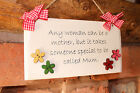 Handcrafted personalised Wooden shabby chic plaque sign Mum Mother Gift present.