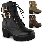 LADIES WOMENS CHUNKY PLATFORM CLEATED SOLE LACE UP BIKER ARMY ANKLE BOOTS SHOES