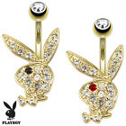 New Novelty Gold Plated Playboy Rabbit Gem Belly Bar Naval Ring 1.6mm x 10mm