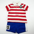 NWT Ralph Lauren Baby Boys Striped Cotton Polo Shirt  Short Set 55- 65
