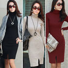 Women Long Sleeve Turtleneck Bodycon Casual OL Jumper Mini Dress Skirt