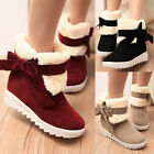 Womens Faux Fur Lined Bowknot Comfort Flats Warm Snow Winter Boots Ankle Booties