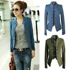 3 Colors Epaulet Long Sleeve Stand-up Collar Double Breasted Jacket Coat 2027 J