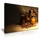 COFFEE BEANS COFFEE POT Canvas Framed Print Cafe Deco - More Size