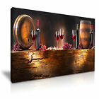 RED WINE & WINE BARREL Canvas Framed Print Pub Club Deco - More Size