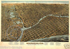1872 Vintage Wall Map Milwaukee Wisconsin Historical Panoramic Largest Sizes