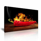 RED CHILLI PEPPER ON FIRE Canvas Framed Print Restaurant Deco - More Size