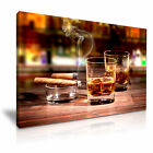 WHISKEY CIGAR Canvas Framed Print Pub Club Deco - More Size