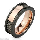 BOLD MENS BLACK & ROSE GOLD IP OVER 316L STAINLESS STEEL CABLE WIRES BAND RING