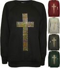 New Womens Cross Stud Long Sleeve Jumper Ladies Casual Top Sweatshirt 8 - 14