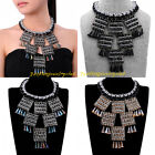 Fashion Charm Black Chain Knit Rope Crystal Statement Collar Choker Bib Necklace
