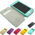 For iPhone 4 4S / 5 5S Case pu-leather Flip cover Hard Back PC + Color Film lot