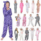 Girls Hooded Fleece All In One Piece Pyjamas Jump Sleep Suit Onesie PJ Nightwear