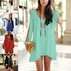 New Sexy Women V-neck Loose Round Neck Strapless A-line Casual Mini Dress UK8-16