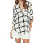Fashion Women Tops Loose Plaids Sexy V Neck Chiffon Shirt Blouse tunic Pullover