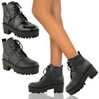 NEW LADIES WOMENS CHUNKY HEEL SOLE PLATFORM LACE UP BIKER ANKLE BOOTS SHOES