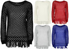 New Womens Crochet Tassel Long Sleeve Plain Ladies Top Knitted Jumper 8 - 14