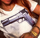 MW 2014 Stylish Fashion Lady Women Gun Printed Tee T-Shirts White Cotton CA3