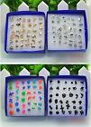 HOA 18Pair Fashion Wholesale Mix Silver Sterling Plated Plastic Ear Stud Earring