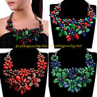 Fashion Ash Black Chain Multicolor Resin Flower Statement Choker Bib Necklace