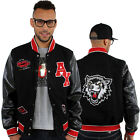 Aviatrix College Baseball Half Wolf Leather & Wool Jacket Black Hip Is Hop Money