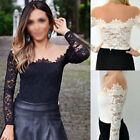 Sexy Womens Off-Shoulder Strappy Long Sleeve Lace Mesh T-Shirt Blouse Slim Tops