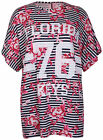 Womens New Floral Stripe 76 Florida Print Ladies Baseball T-Shirt Top Plus Size