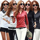Korea Fashion Women Ladies Long Sleeve V Neck Bottoming Top Slim Casual T-shirt