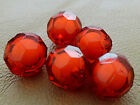 14/16 mm RED CLEAR FACETED ROUND ACRYLIC BEAD IN BEAD CC4446