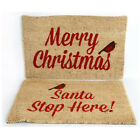 MERRY CHRISTMAS SANTA FRONT DOOR MAT FLOOR OUTDOOR NON SLIP CARPET DOORMAT XMAS